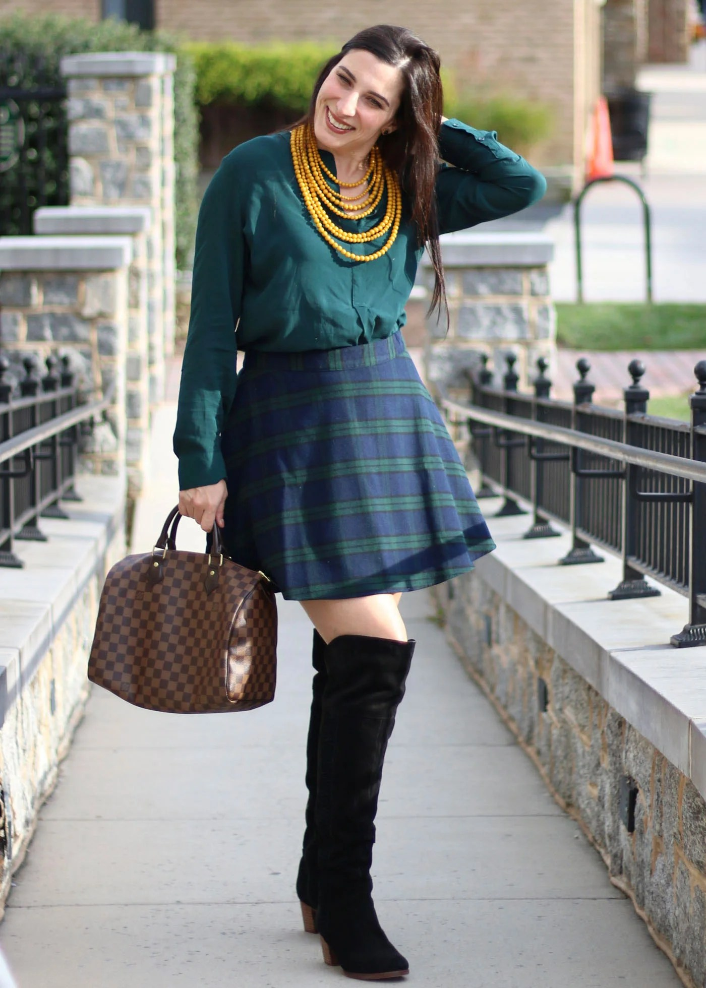 Over The Knee Boots, Plaid Skirt, Louis Vuitton Speedy Damier Ebene