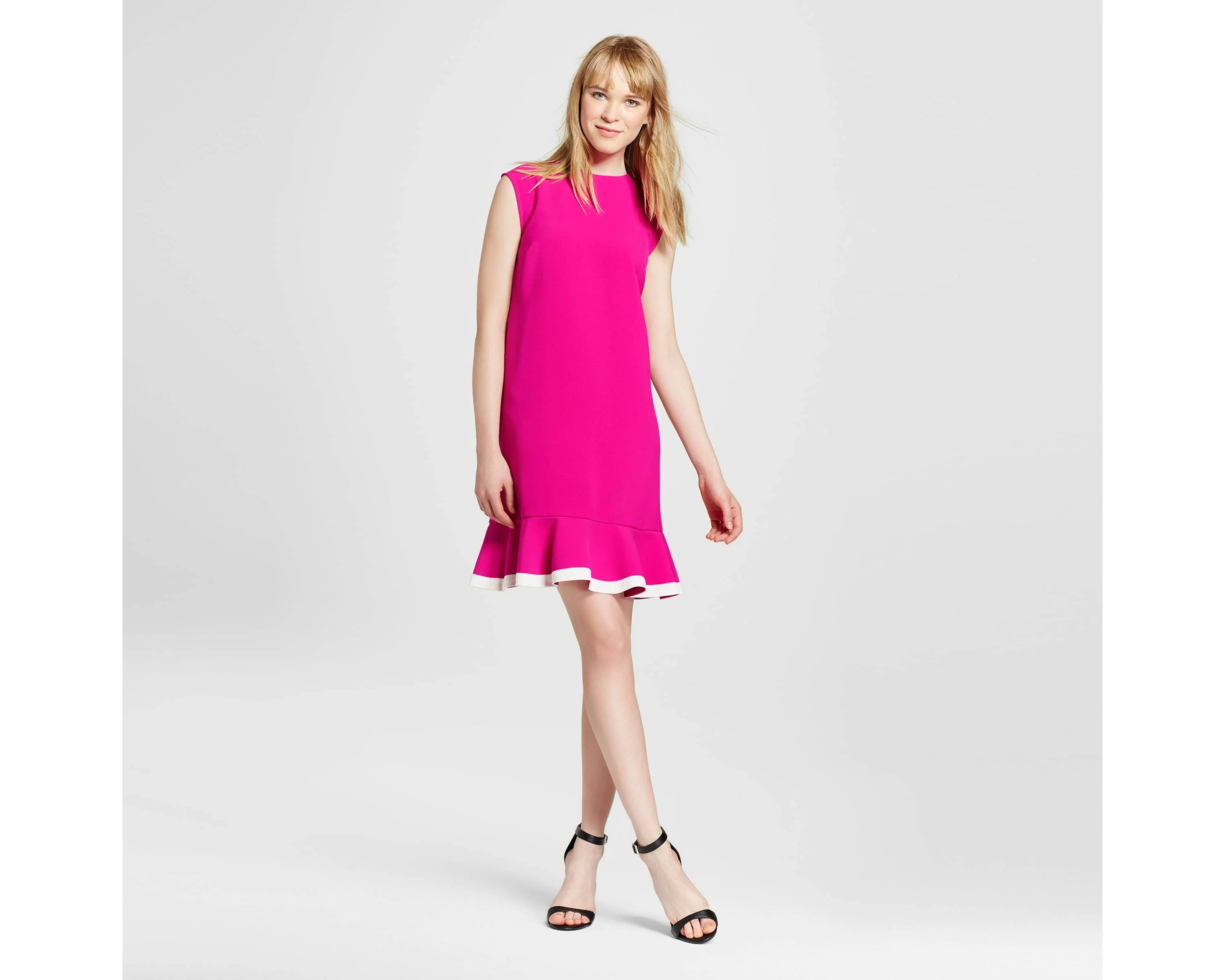 Fuchsia Twill Ruffle Hem Dress