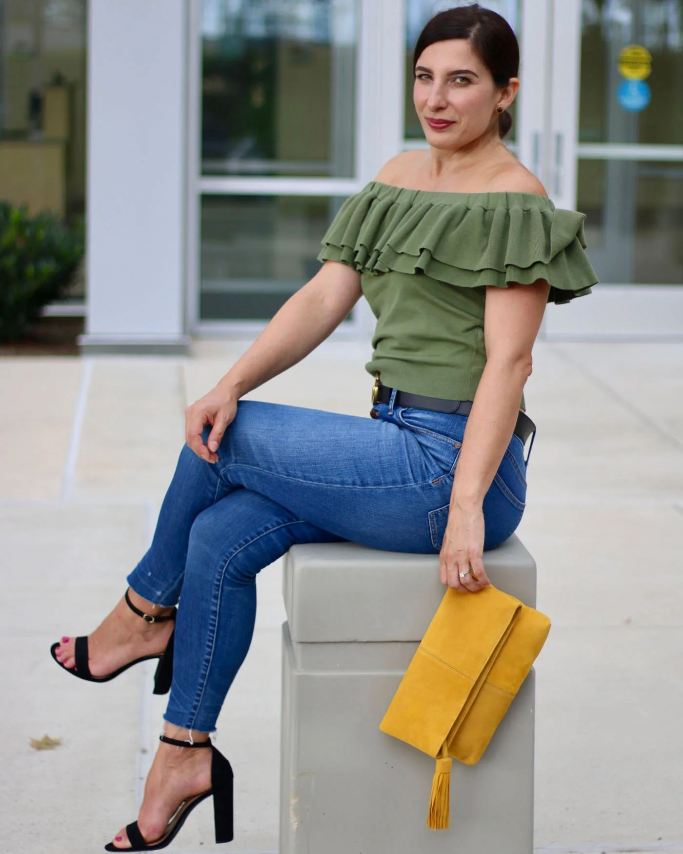 J.Crew Off The Shoulder Light Sweater, Yellow Suede Clutch, Madewell Jeans