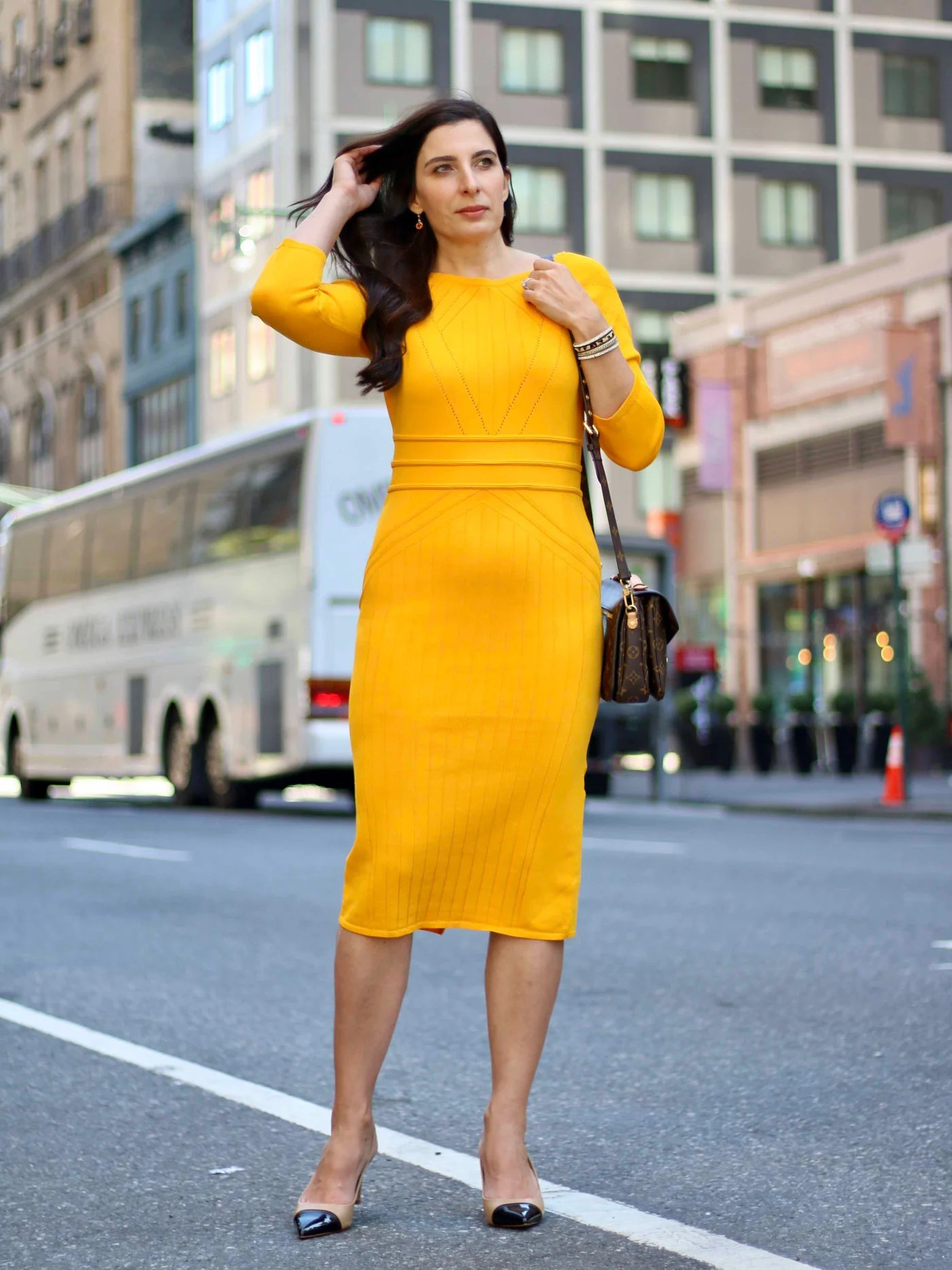 Yellow Sweater Dress, Gabrielle Union Collection, New York and Co., Louis Vuitton Pochette Metis