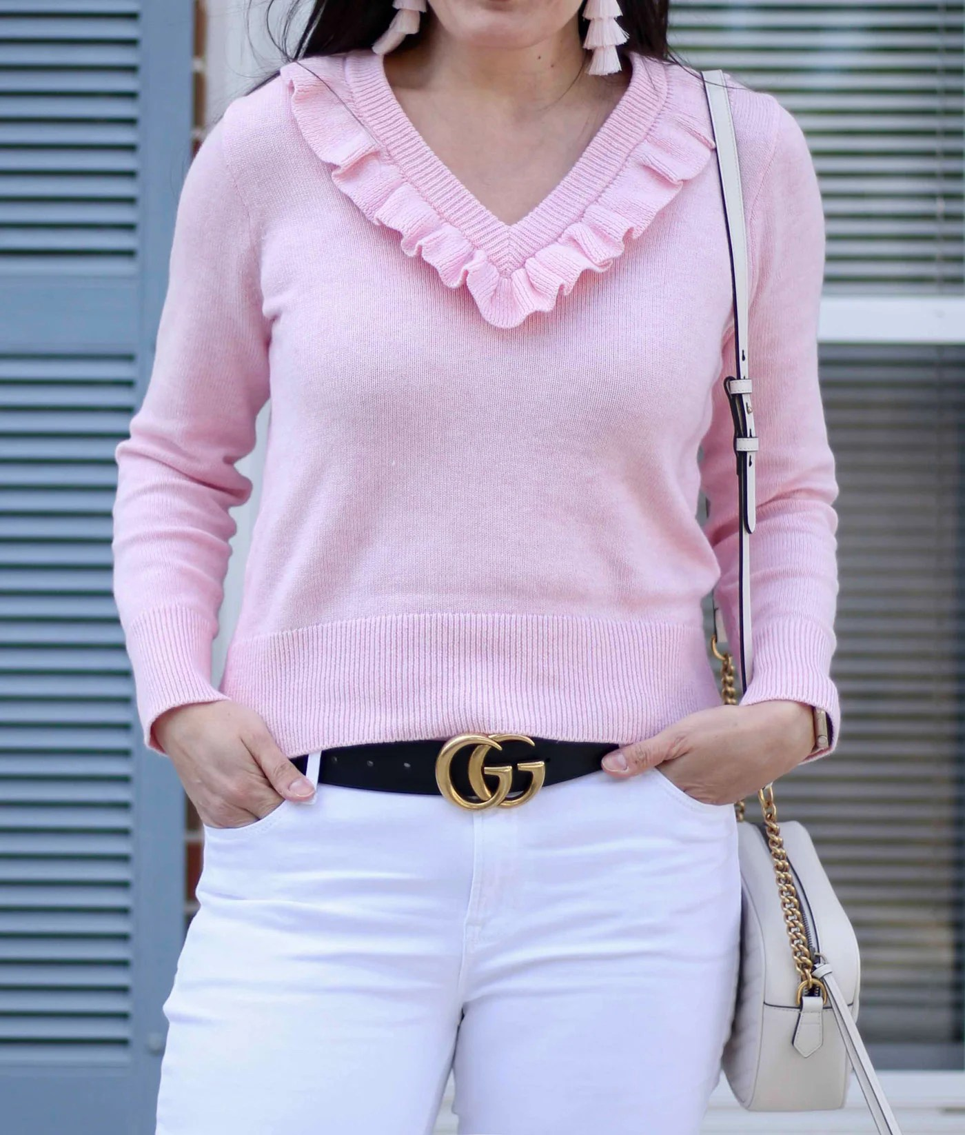 Pink Ruffle Sweater And Tassel Earrings 8f634d2855af