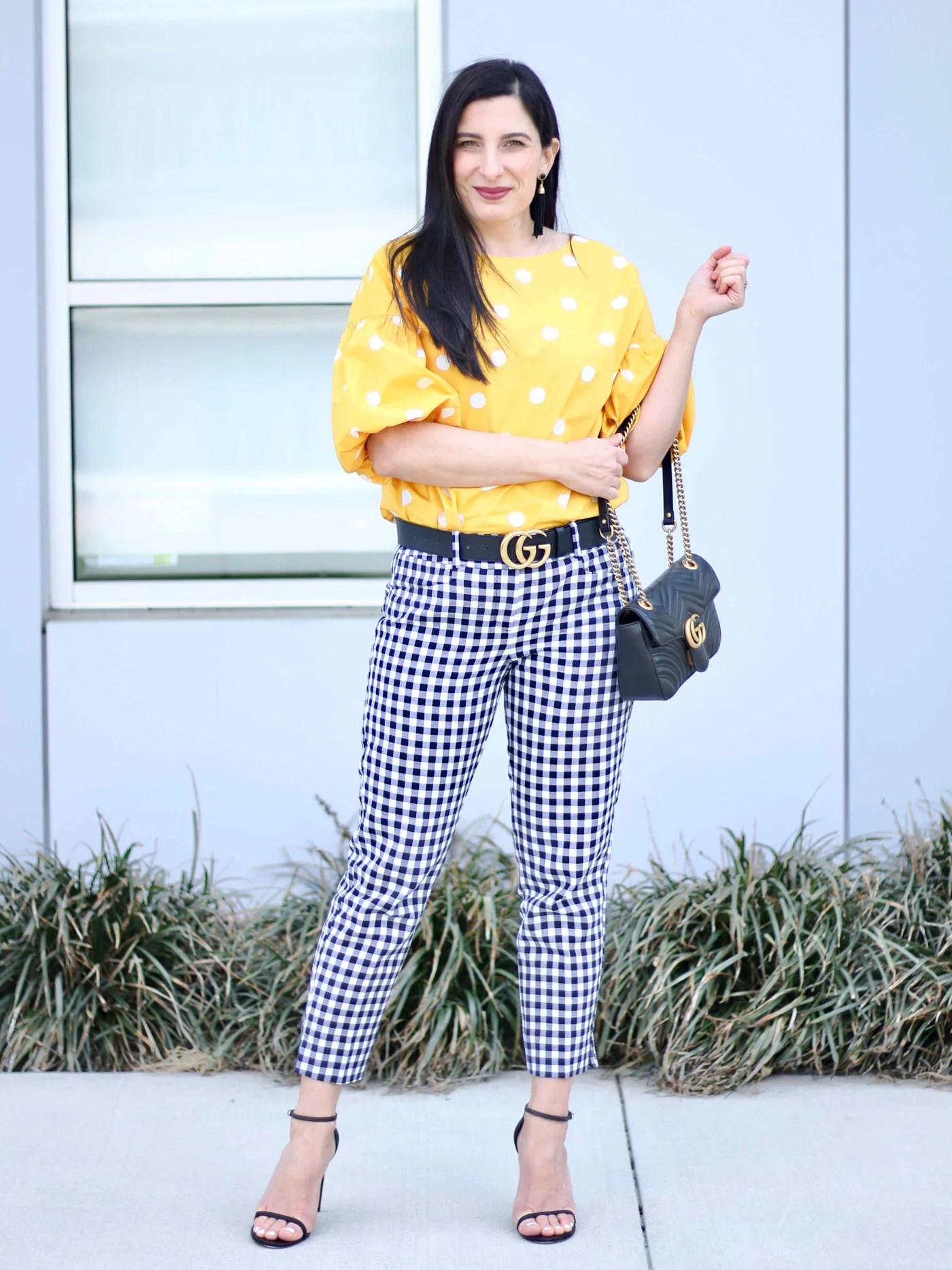 Polka Dot Bubble Sleeve Top