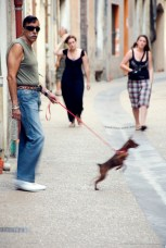 Man with a dog on a leash