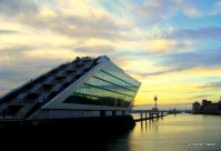 Dockland Building at sunset