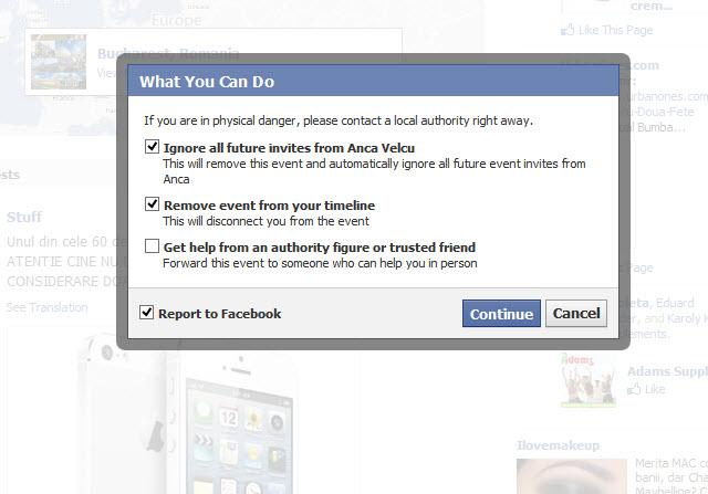 raporteaza la facebook hartuirea