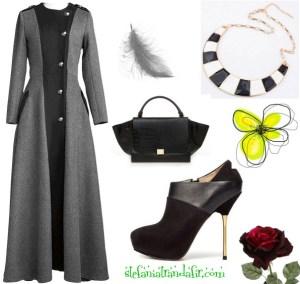 Outfit cu pardesiu lung stil militar – Cu Botine geanta si colier OASAP
