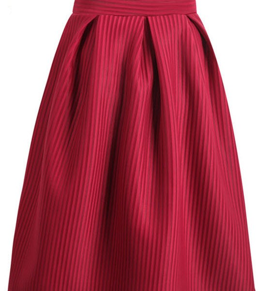 Casual Elegant Wine Red Bow Vertical Stripe Mid Skirt