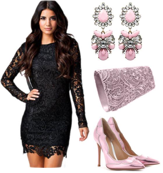 Rochii seducatoare din dantela neagra cu accesorii lila