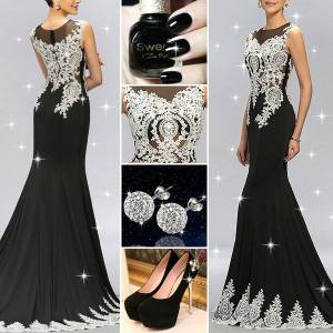 Stunning Tulle Neckline Appliques Beading Mermaid Long Evening Dress outfit