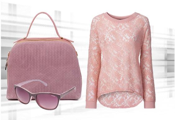 geanta din piele naturala cu detalii metalice aurii si ochelari roz