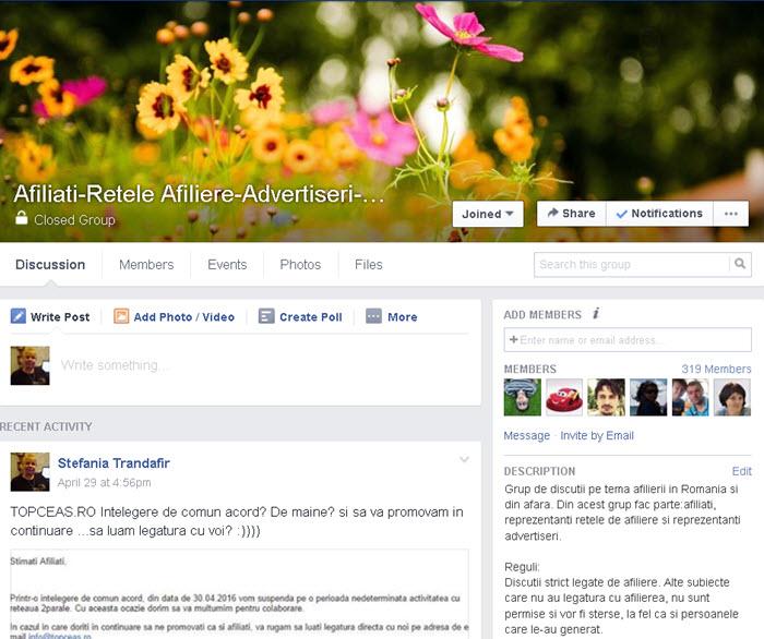 Grup pe facebook dedicat afilierii