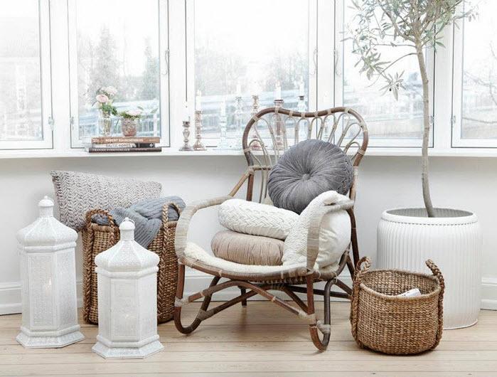 scaun de rachita indiana in decor cu cosuri impletite by Hubsch