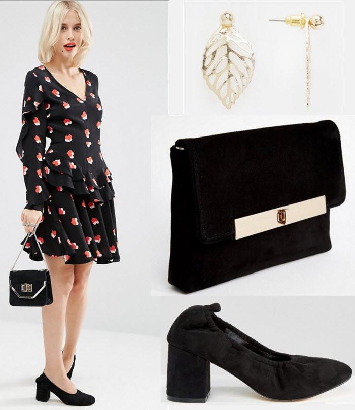 Outfit cu rochie cu maneci lungi, pantofi cu toc gros, clutch
