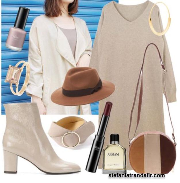 outfit de toamna bej cu maro