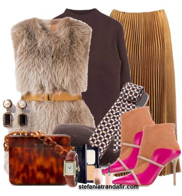 outfit fusta plisata botine toc cui vesta blana