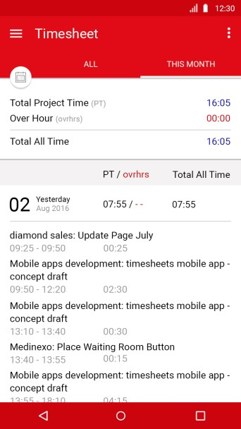 Timesheet - Android mobile apps design