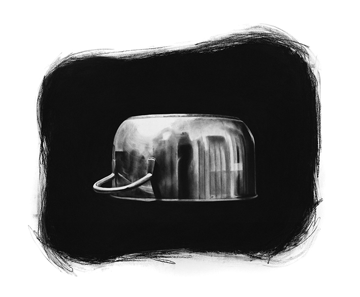 """pot"" 2015, charcoal drawing, 100 x 120 cm"