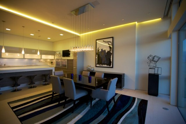 LED Strip Lighting Is Featured Throughout The Home Including Stairs, Coves  And Pathways.