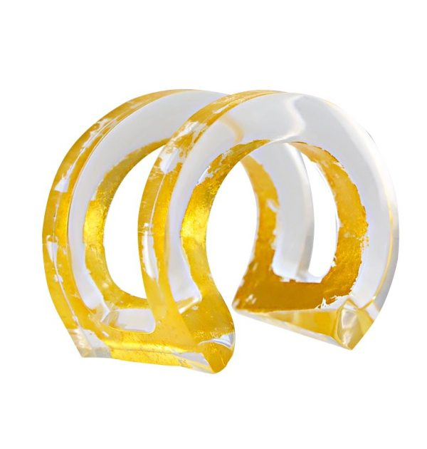 CLEO'S CHARM LUCITE AND GOLD CUFF