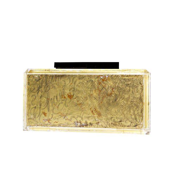 STEFANIE PHAN X FRANCO VESCOVI HAND ENGRAVED GOLD ACRYLIC CLUTCH