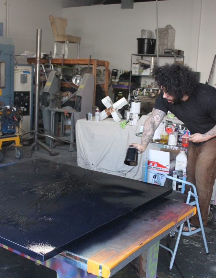 Aaron R. Thomas painting polyurethane on canvas