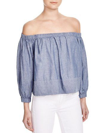 Cynthia Rowley Chambray Off Shoulder Top