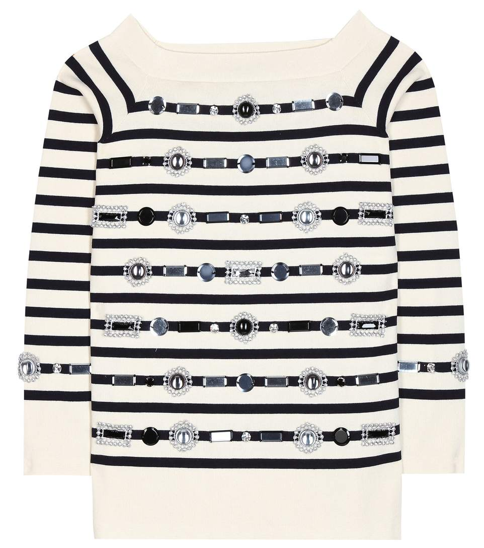 MARC JACOBS Embellished striped cotton and cashmere sweater