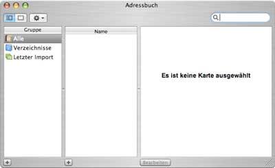 Screenshot: leeres Adressbuch