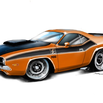 70Dodge Challenger Orange, dodge challenger, shop american muscle,