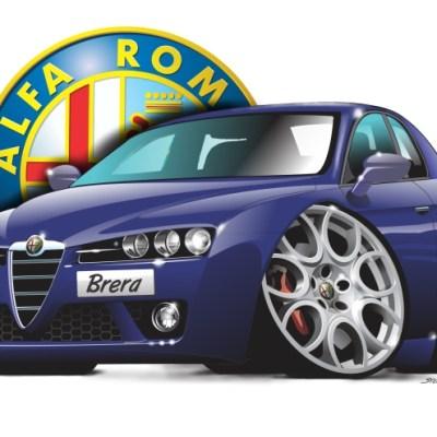 alfa brera purple, cartoon car art, car drawings,