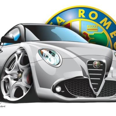 Alfa Mito Silver, cartoon car art, cartoon car drawings, cartoon cars,
