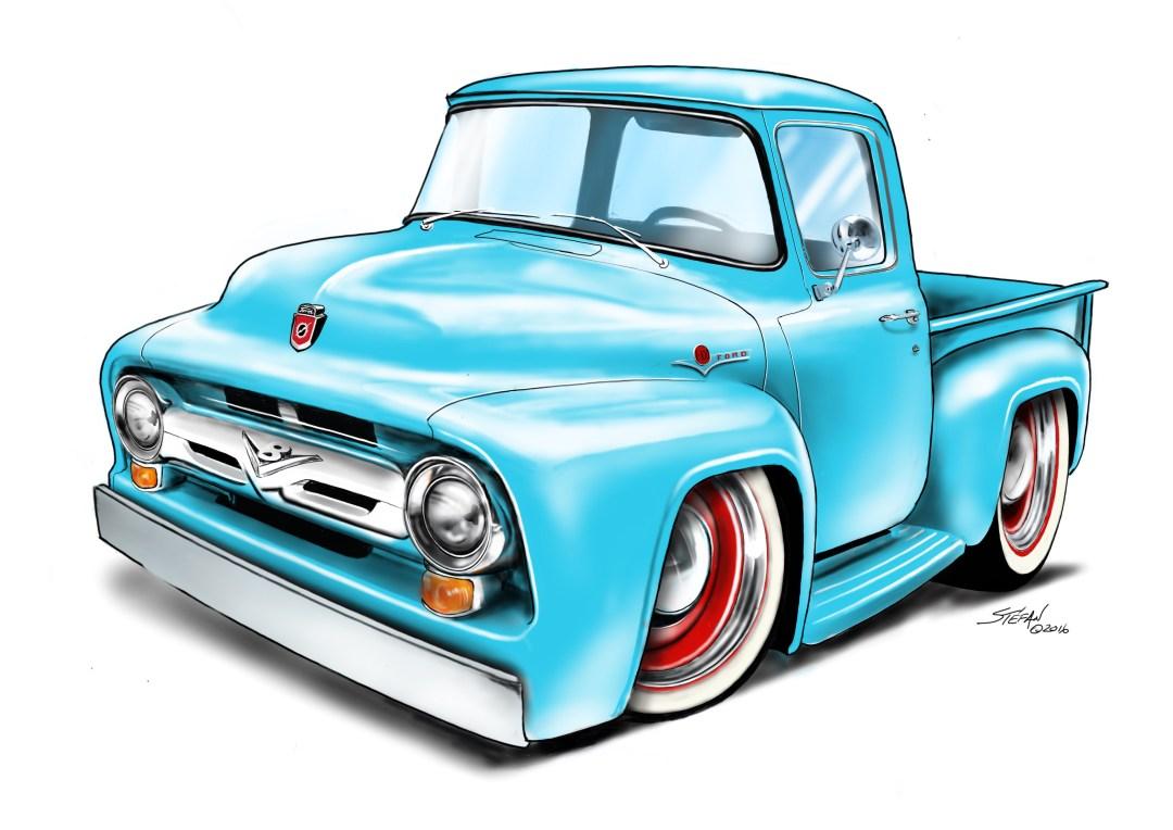 56 Ford Pickup, cartoon car drawings, car drawings,