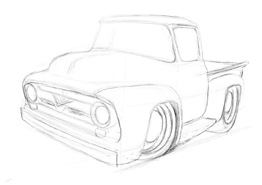 56 Ford Pickup, cartoon drawings, cartoon cars,
