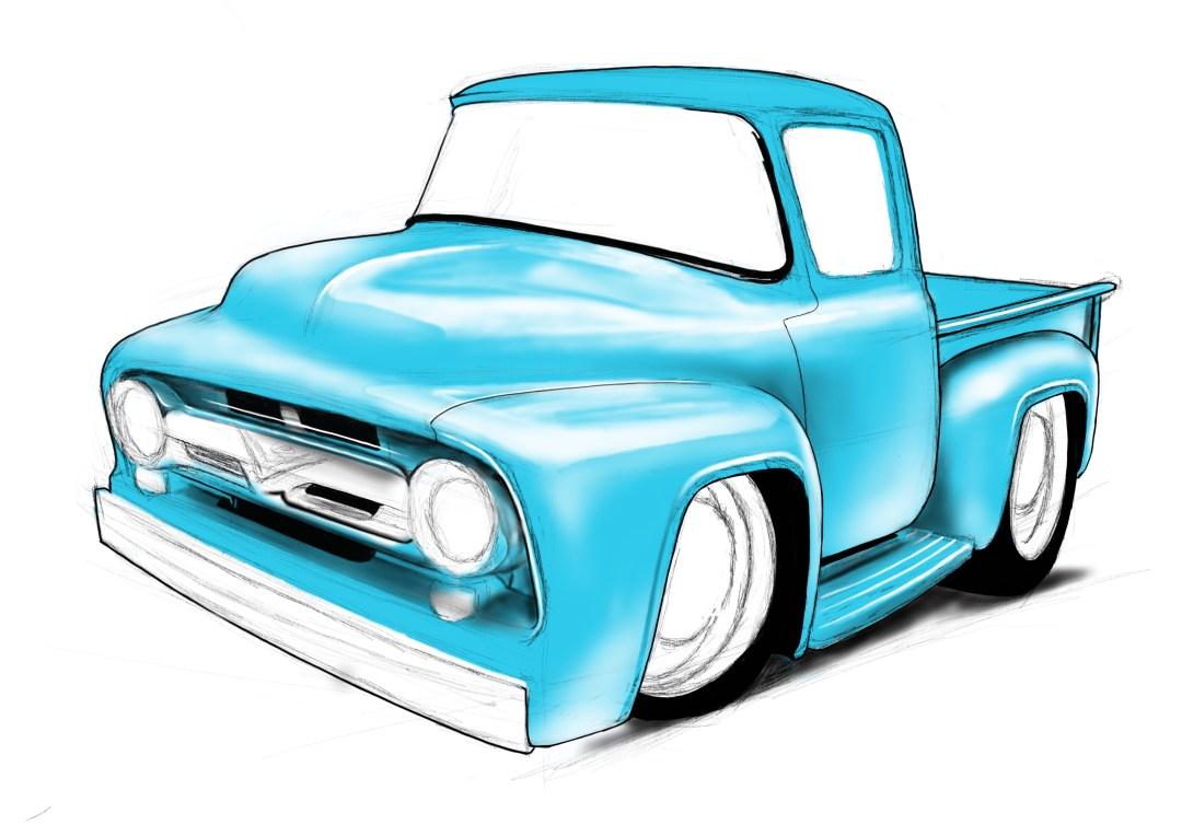 56 ford pickup, cartoon cars, car drawings, american trucks,