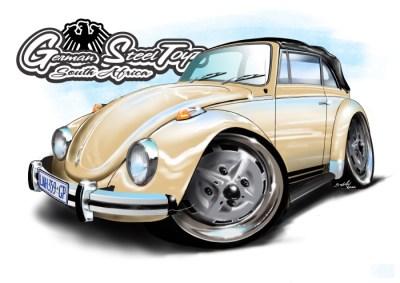 VW Beetle Cabrio, cartoon car art, cartoon car drawings,