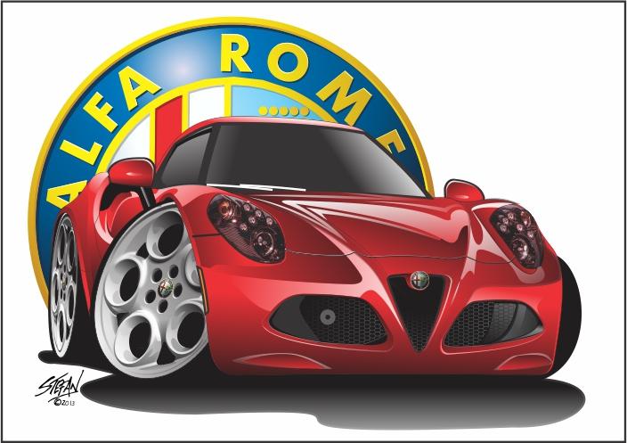 alfa romeo 4c, cartoon drawings,