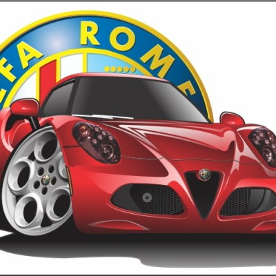 alfa romeo 4c, cartoon drawings,