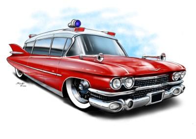 cadillac ambulance red, caroon car art, cartoon car drawings,