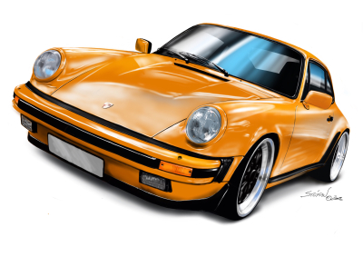 porsche 911 orange, porsche 911 drawing,