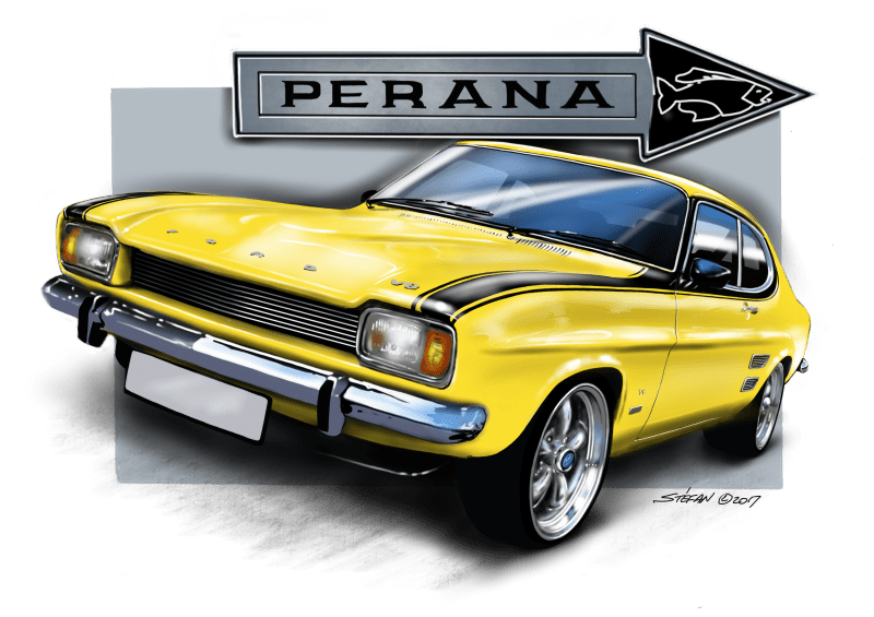 south african muscle cars - cartoon drawings, auto art