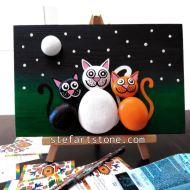 картини с камъни котета
