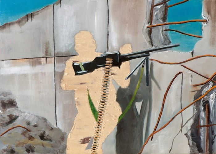 Irgendwo ist immer ein Krieg III/13, Öl und Flachstich auf Schichtholzplatte, 30 x 42 cm, 2013