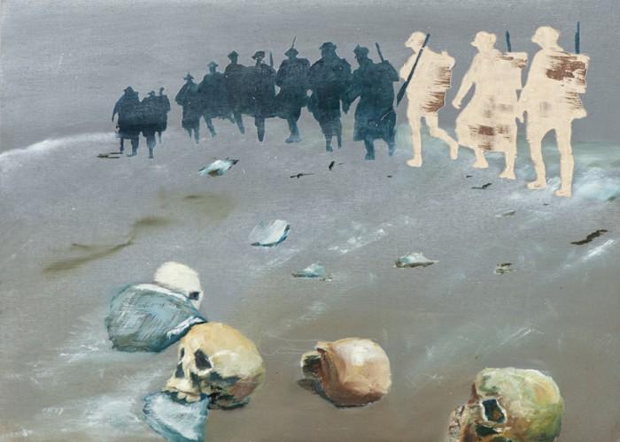 Irgendwo ist immer ein Krieg X/13, Öl und Flachstich auf Schichtholzplatte, 30 x 42 cm, 2013
