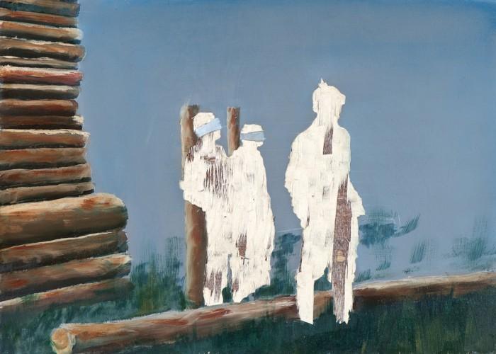Meines Bruders Hüter I, Öl und Flachstich auf Schichtholzplatte, 30 x 42 cm, 2013