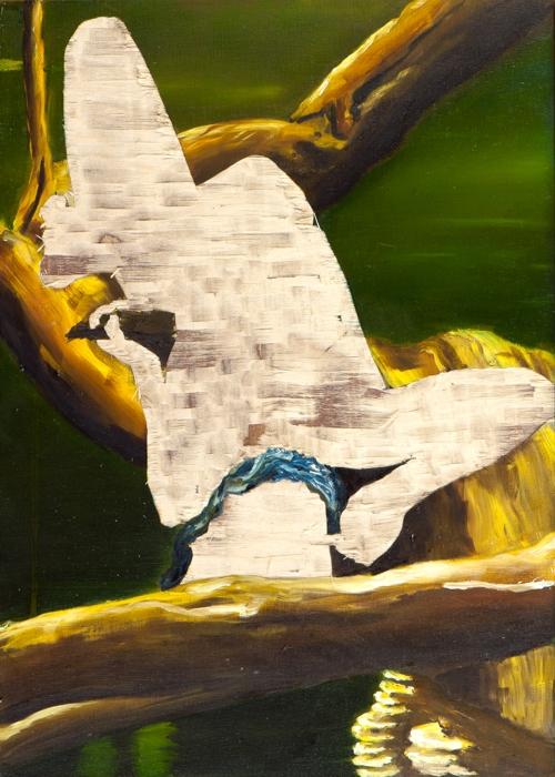 ohne Titel I/15, Öl und Flachstich auf Schichtholzplatte, 42 x 30 cm, 2015
