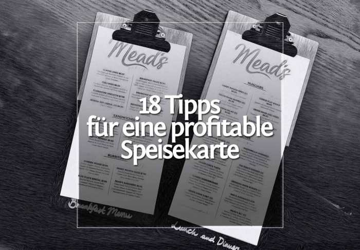 18 Tipps für eine profitable Speisekarte