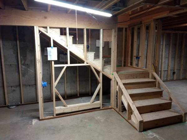 Wood Framing of stairway with hexagon tunnel under the stairs