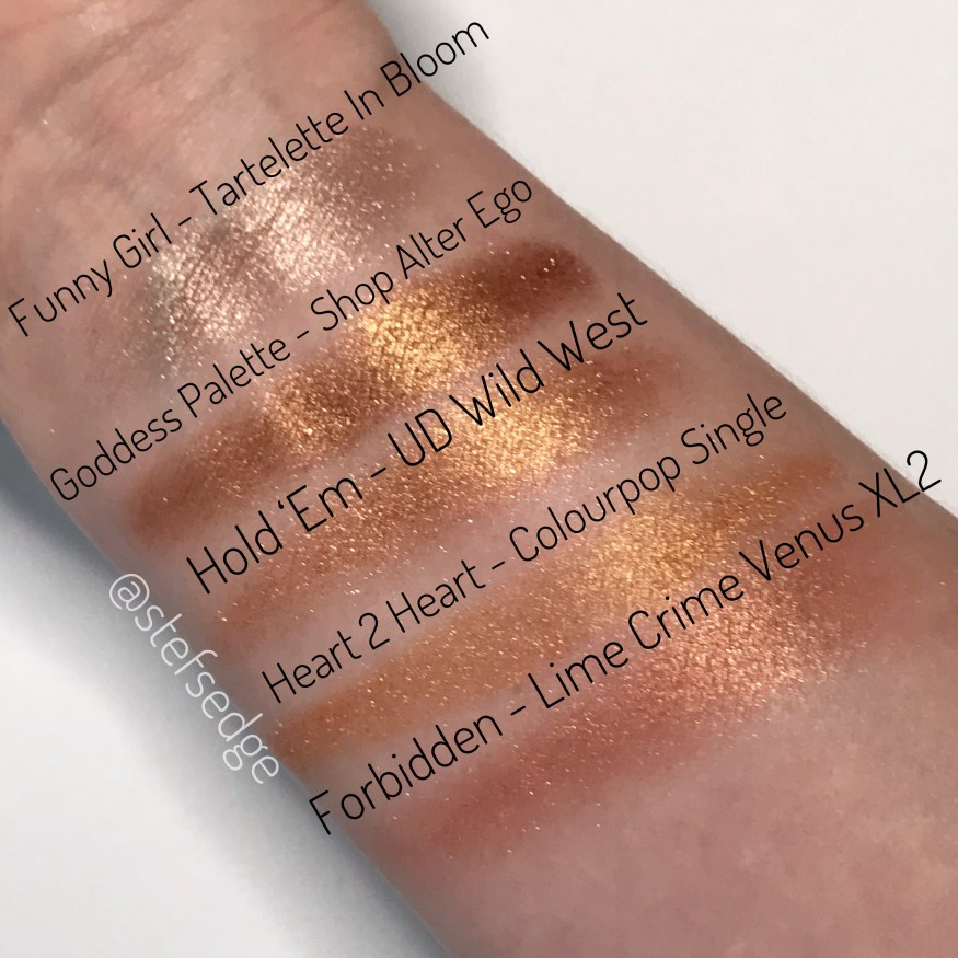 Eyeshadow swatches: Funny Girl from Tartelette in Bloom palette, shade from Goddess Palette by Shop Alter Ego, Hold 'Em from Urban Decay Wild West palette, Heart 2 Heart by Colourpop, Forbidden from Lime Crime Venus XL2 palette.