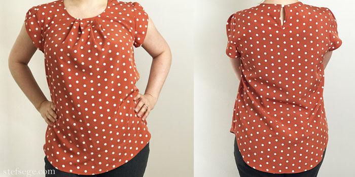 Milumia Chiffon Pleated Cap Sleeve Polka Dot blouse from Amazon.com