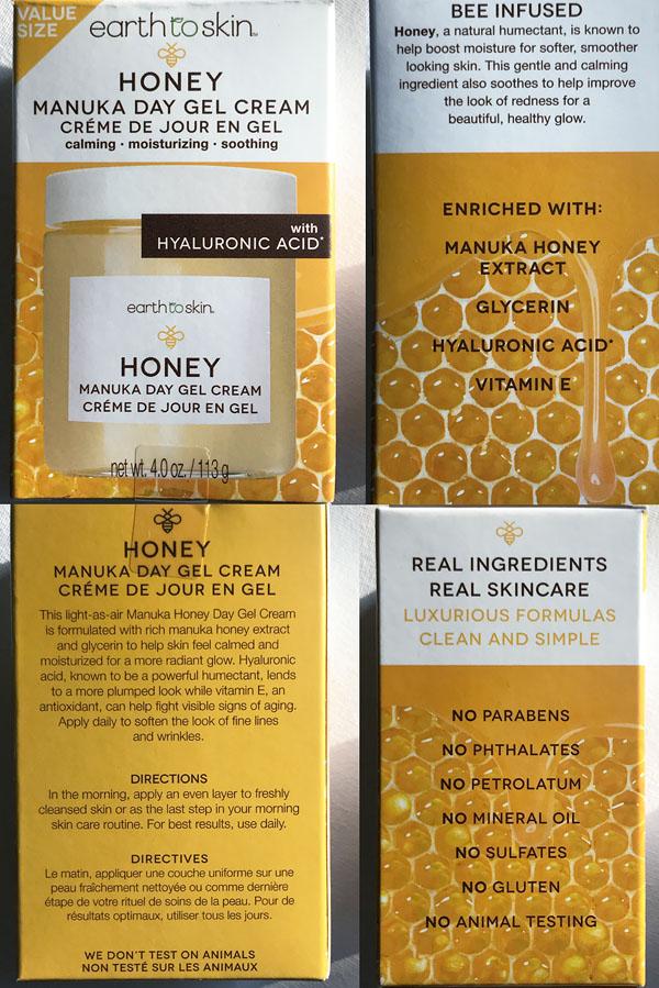 Four sides of box - Earth to Skin - Honey , Manuka Day Gel Cream